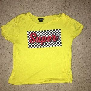 trendy yellow crop t-shirt